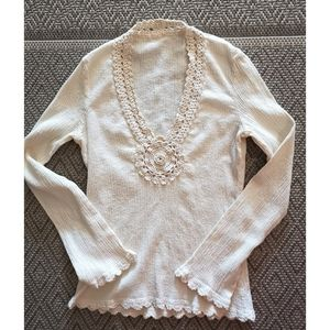 Vintage early 80's top crochet accent cream